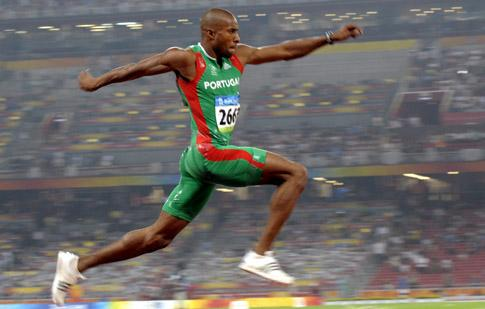 Nelson Evora of Portugal competes in the men's triple jump final during the athletics competitions in the National Stadium  at the Beijing 2008 Olympics in Beijing, Thursday, Aug. 21, 2008. (AP Photo/Thomas Kienzle) Beijing Olympics Athletics Mens Triple Jump
